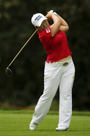 CHON BURI, THAILAND - FEBRUARY 20:  Shin Jiyai of South Korea tees off on the 9th hole during round three of the Honda PTT LPGA Thailand at Siam Country Club on February 20, 2010 in Chon Buri, Thailand.  (Photo by Victor Fraile/Getty Images)