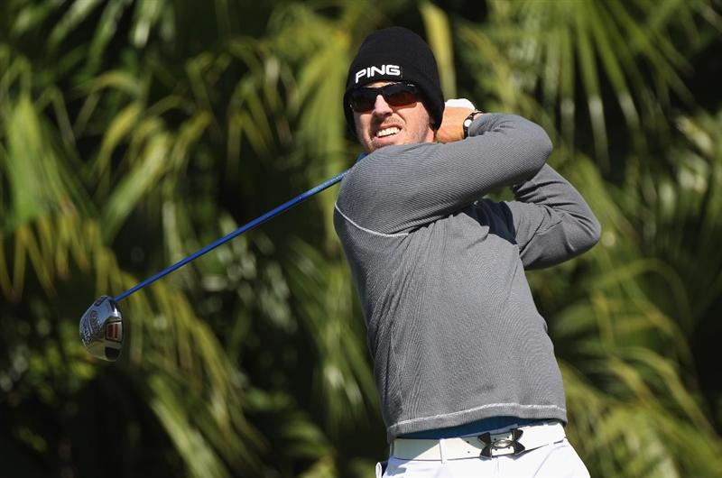 DORAL, FL - MARCH 11:  Hunter Mahan hits his tee shot on the eighth hole during the completion of the first round of the 2011 WGC- Cadillac Championship at the TPC Blue Monster at the Doral Golf Resort and Spa on March 11, 2011 in Doral, Florida.  (Photo by Sam Greenwood/Getty Images)