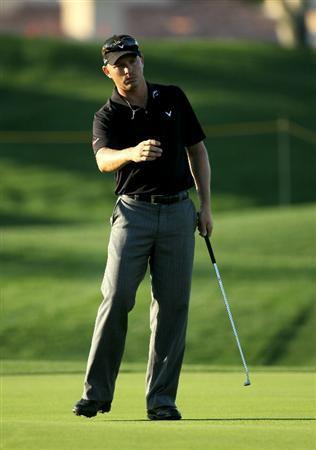 LA QUINTA, CA - JANUARY 19:  Derek Lamely reacts to his putt on the ninth hole during round one of the Bob Hope Classic at the Palmer Private Course at PGA West on January 19, 2011 in La Quinta, California.  (Photo by Stephen Dunn/Getty Images)