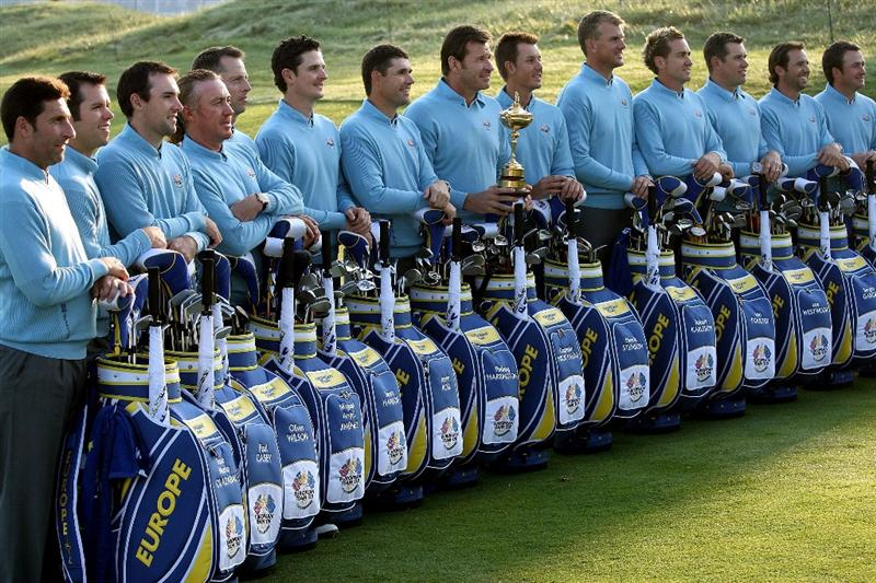 LOUISVILLE, KY - SEPTEMBER 16:  (L-R) Jose Maria Olazabal (assistant captian), Paul Casey, Oliver Wilson, Miguel Angel Jimenez, Soren Hansen, Justin Rose, Padraig Harrington, Nick Faldo (captain), Henrick Stenson, Robert Karlsson, Ian Poulter, Lee Westwood, Sergio Garcia, Graeme McDowell of the European team pose for the official team photograph prior to the 2008 Ryder Cup at Valhalla Golf Club of September 16, 2008 in Louisville, Kentucky.  (Photo by Ross Kinnaird/Getty Images)