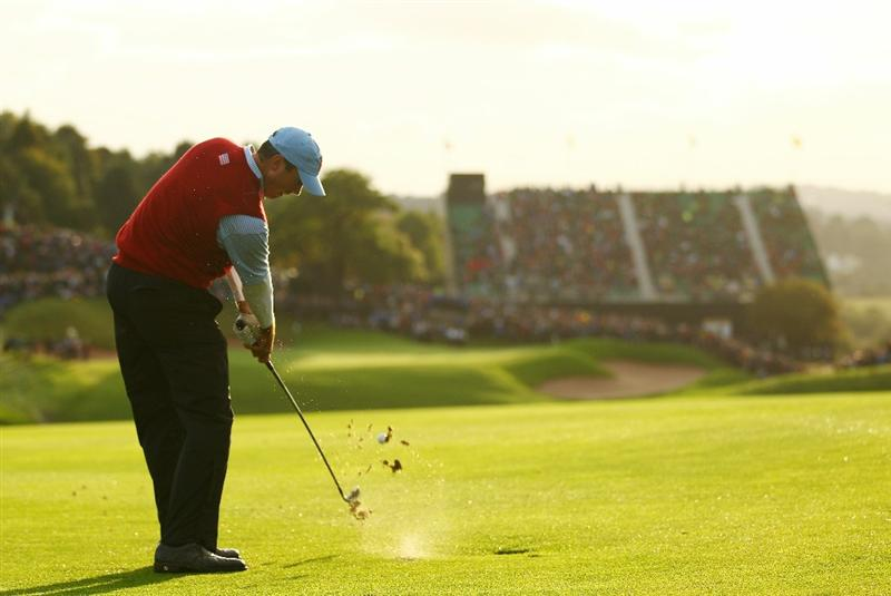 NEWPORT, WALES - OCTOBER 03:  Matt Kuchar of the USA hits a shot on the 18th hole during the  Fourball & Foursome Matches during the 2010 Ryder Cup at the Celtic Manor Resort on October 3, 2010 in Newport, Wales.  (Photo by Richard Heathcote/Getty Images)