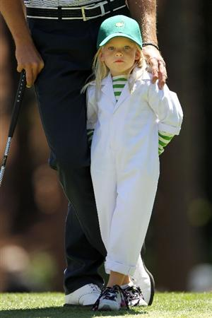 AUGUSTA, GA - APRIL 06:  Lisa Stenson waits on a green with her father Henrik during the Par 3 Contest prior to the 2011 Masters Tournament at Augusta National Golf Club on April 6, 2011 in Augusta, Georgia.  (Photo by Jamie Squire/Getty Images)