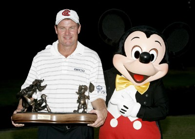 Joe Durant poses with the trophy after winning  the 2006 FUNAI Classic at WALT DISNEY WORLD Resort on the Magnolia Course in Lake Buena Vista, Florida, on October 22, 2006. PGA TOUR - 2006 FUNAI Classic at the WALT DISNEY WORLD Resort - Final RoundPhoto by Sam Greenwood/WireImage.com
