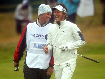 SOUTHPORT, UNITED KINGDOM - JULY 18:  Fredrick Jacobson of Sweden laughs with his caddie Ron Levin on the 1st hole during the second round of the 137th Open Championship on July 18, 2008 at Royal Birkdale Golf Club, Southport, England.  (Photo by Andrew Redington/Getty Images)