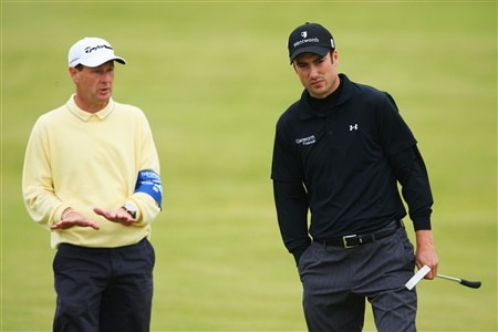 SOUTHPORT, UNITED KINGDOM - JULY 16:  Ross Fisher of England works with his short game coach Mark Roe during the third practice round of the 137th Open Championship on July 16, 2008 at Royal Birkdale Golf Club, Southport, England.  (Photo by Stuart Franklin/Getty Images)