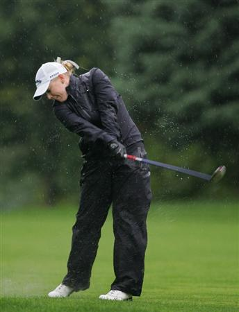 PITTSFORD, NY - JUNE 28: Morgan Pressel of the USA hits her third shot on the 17th hole during the final round of the Wegmans LPGA at Locust Hill Country Club held on June 28, 2009 in Pittsford, NY. (Photo by Michael Cohen/Getty Images)
