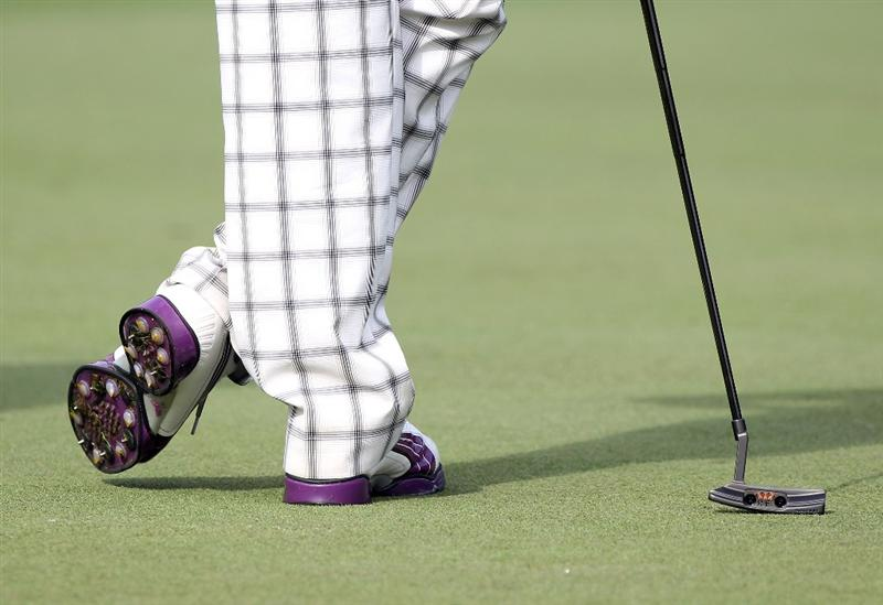 ORLANDO, FL - MARCH 24:  Rickie Fowler's shoes as seen on the 2nd hole during the first round of the Arnold Palmer Invitational presented by MasterCard at the Bay Hill Club and Lodge on March 24, 2011 in Orlando, Florida.  (Photo by Sam Greenwood/Getty Images)