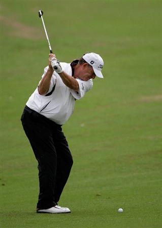 INCHEON, SOUTH KOREA - SEPTEMBER 10:  Jay Haas of United States plays a shot during day one of PGA Champions Tour - Posco E&C Songdo Championship at Jack Nicklaus Golf Club on September 10, 2010 in Incheon, South Korea.  (Photo by Chung Sung-Jun/Getty Images)