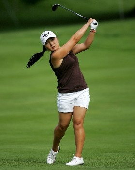 EVIAN, FRANCE - JULY 29:  Jeong Jang of South Korea hits her second shot on the first playoff hole during the final round of The Evian Masters on July 29, 2007 in Evian, France. She would lose on this hole to Natalie Gulbis. (Photo by Andy Lyons/Getty Images)