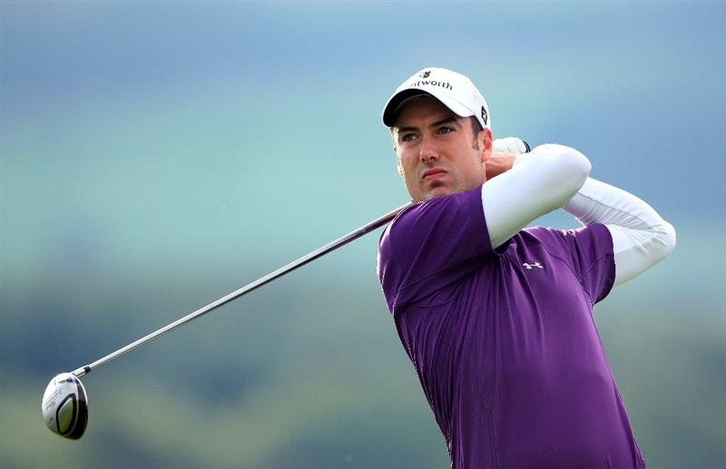 PERTH, UNITED KINGDOM - AUGUST 29:  Ross Fisher of England tees off on the 12th hole during the second round of The Johnnie Walker Championship at Gleneagles on August 29, 2008 at the Gleneagles Hotel and Resort in Perthshire, Scotland.  (Photo by Andrew Redington/Getty Images)