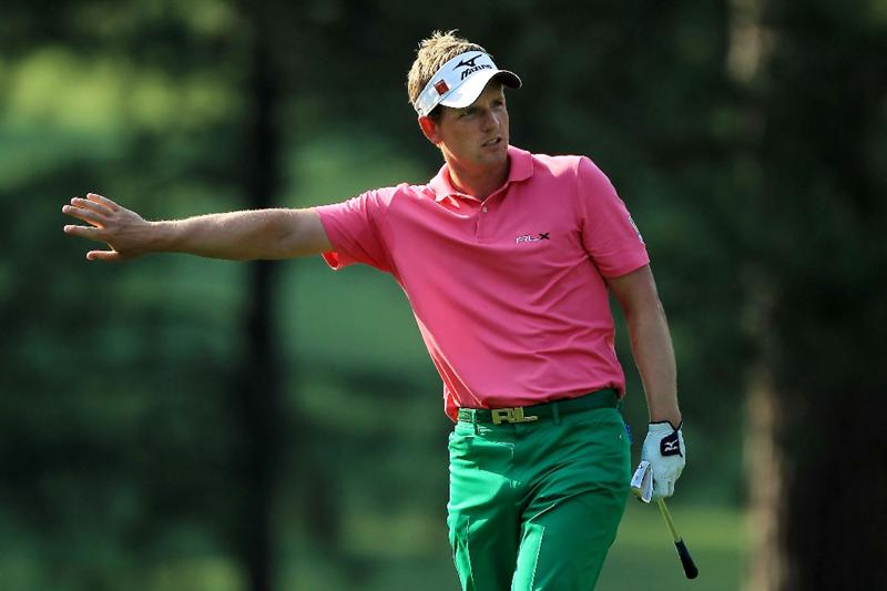AUGUSTA, GA - APRIL 09:  Luke Donald of England reacts to his shot from the fairway on the 17th hole during the third round of the 2011 Masters Tournament at Augusta National Golf Club on April 9, 2011 in Augusta, Georgia.  (Photo by David Cannon/Getty Images)