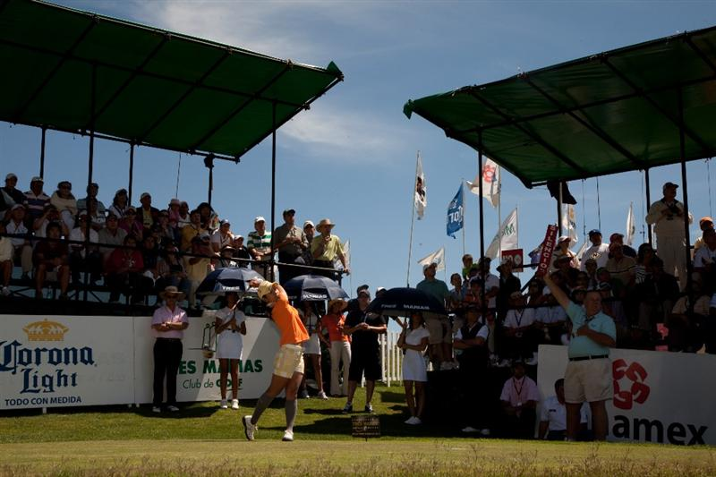 MORELIA, MEXICO - MAY 2: Ai Miyazato of Japan follows through on her tee shot at the first hole during the fourth round of the Tres Marias Championship at the Tres Marias Country Club on May 2, 2010 in Morelia, Mexico. (Photo by Darren Carroll/Getty Images)