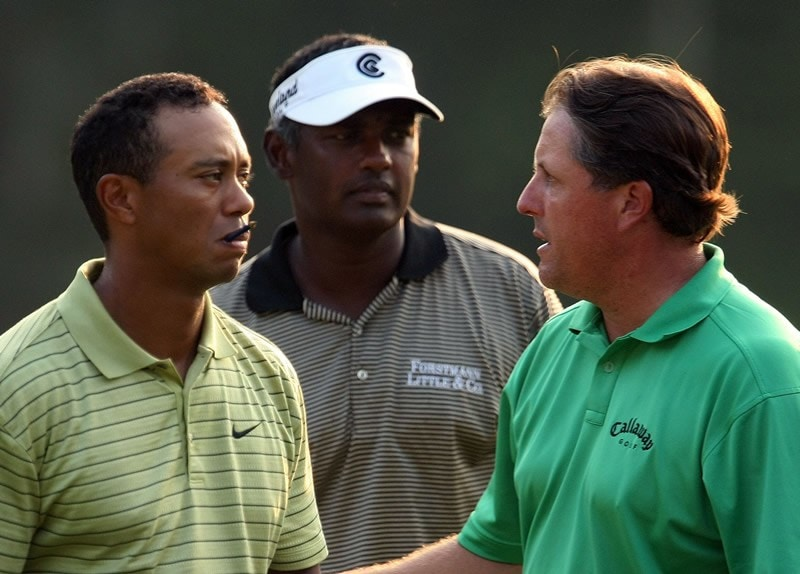 Vijay Singh, Tiger Woods and Phil Mickelson