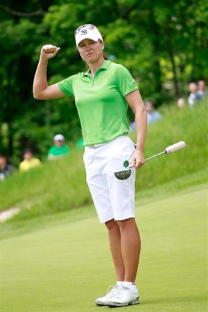 GLADSTONE, NJ - MAY 21:  Sophie Gustafson of Sweden reacts to her birdie on the 18th green to defeat Michelle Wie in round three of the Sybase Match Play Championship at Hamilton Farm Golf Club on May 20, 2011 in Gladstone, New Jersey.  (Photo by Chris Trotman/Getty Images)