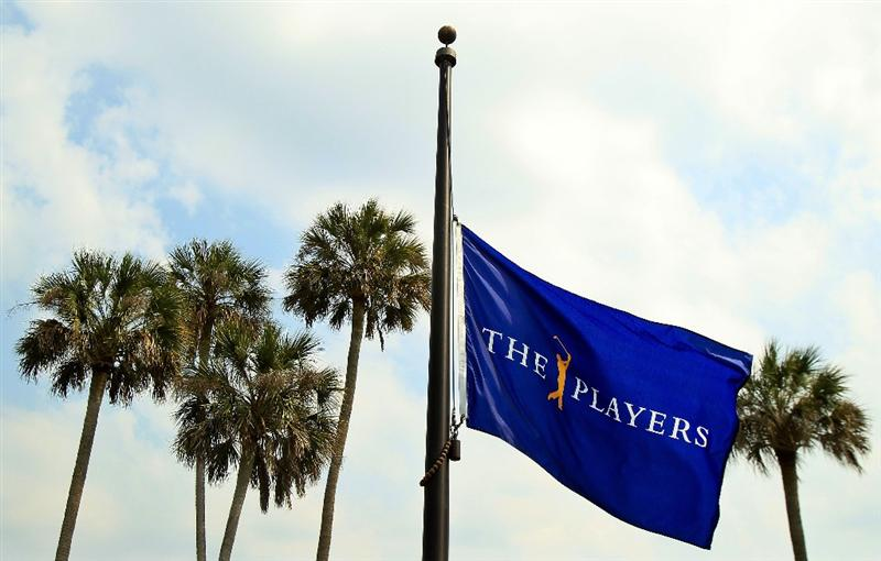 PONTE VEDRA BEACH, FL - MAY 11:  THE PLAYERS flag flies at half-mast to commemorate the passing of golfer Seve Ballesteros as seen during a practice round prior to the start of THE PLAYERS Championship held at THE PLAYERS Stadium course at TPC Sawgrass on May 11, 2011 in Ponte Vedra Beach, Florida.  (Photo by Streeter Lecka/Getty Images)