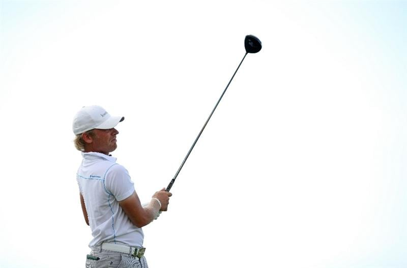 VILAMOURA, PORTUGAL - OCTOBER 16:  Jeppe Huldahl of Denmark tee's off atthe 18th during the third round of the Portugal Masters at the Oceanico Victoria Golf Course on October 16, 2010 in Vilamoura, Portugal.  (Photo by Richard Heathcote/Getty Images)