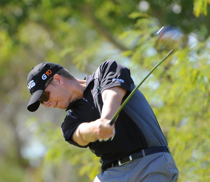 LAS VEGAS- OCTOBER 17: Chris Stroud tees off the 2nd hole  during the third round of the Justin Timberlake Shriners Hospitals for Children Open held at the TPC Summerlin on Saturday, October 18, 2008 in Las Vegas, Nevada(Photo by Marc Feldman/Getty Images)