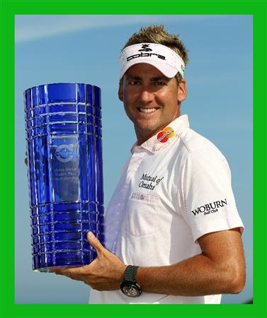CASARES, SPAIN - MAY 22:  Ian Poulter of England with the winners trophy after the final of the Volvo World Match Play Championship at Finca Cortesin on May 22, 2011 in Casares, Spain.  (Photo by Ross Kinnaird/Getty Images)***BESTPIX***