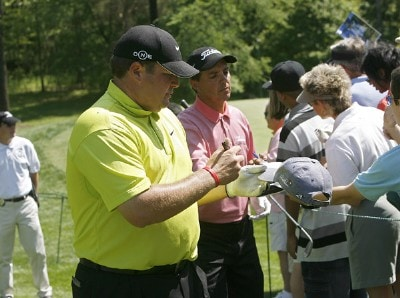 Jason Gore and Tom Pernice Jr. sign autographs during a practice round prior to the 2006 Wachovia Championship at the Quail Hollow Club in Charlotte, North Carolina on May 2, 2006.Photo by Kevin C.  Cox/WireImage.com