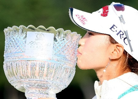 SHIMA, JAPAN - NOVEMBER 04:  Momoko Ueda of Japan kisses the trophy after winning the LPGA Mizuno Classic, at Kintetsu Kashikojima Country Club, on October 4, 2007, in Mie Prefecture, Japan. Mizuno Classic is the only LPGA Tour tournament taken place in Japan.  (Photo by Koichi Kamoshida/Getty Images)