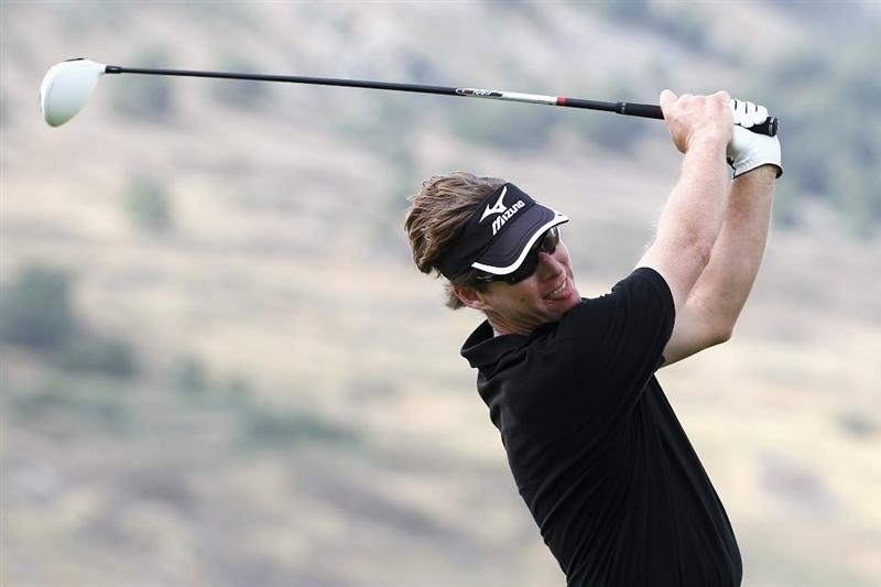 PORTO SANTO ISLAND, PORTUGAL - MAY 18:  Carl Suneson of Spain tees off the 12th hole during the Madeira Islands Open Pro-Am Tournament on May 18, 2011 on Porto Santo Island, Portugal.  (Photo by Dean Mouhtaropoulos/Getty Images)