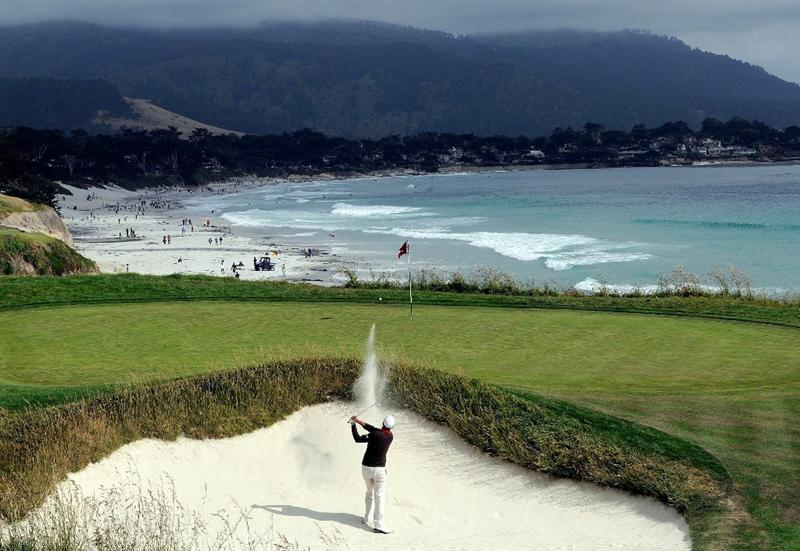 PEBBLE BEACH, CA - JUNE 19:  Gregory Havret of France plays a bunker shot on the ninth hole during the third round of the 110th U.S. Open at Pebble Beach Golf Links on June 19, 2010 in Pebble Beach, California.  (Photo by Harry How/Getty Images)