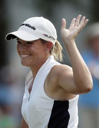 MOBILE, AL - SEPTEMBER 14:  Kim Hall waves to the crowd on the 18th green after completing her final round play in the Bell Micro LPGA Classic at Magnolia Grove Golf Course on September 14, 2008 in Mobile, Alabama.  (Photo by Dave Martin/Getty Images)