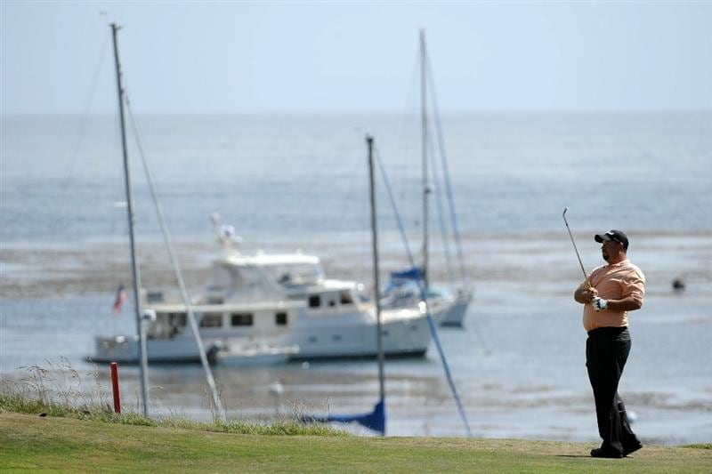 PEBBLE BEACH, CA - JUNE 19:  Brendon de Jonge of Zimbabwe watches a shot on the fourth hole during the third round of the 110th U.S. Open at Pebble Beach Golf Links on June 19, 2010 in Pebble Beach, California.  (Photo by Harry How/Getty Images)