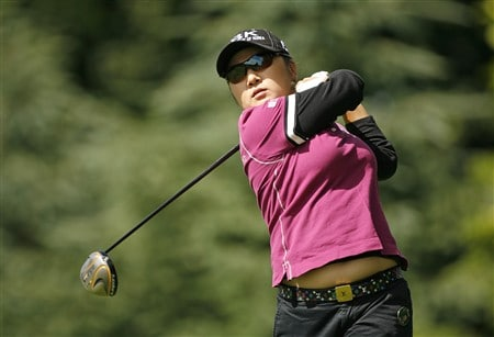 ROCHESTER, NY - JUNE 19: Jeong Jang of Korea hits her tee shot on the 6th hole during the first round of the Wegmans LPGA at Locust Hill Country Club on June 19, 2008 in Rochester, New York. (Photo by Hunter Martin/Getty Images)