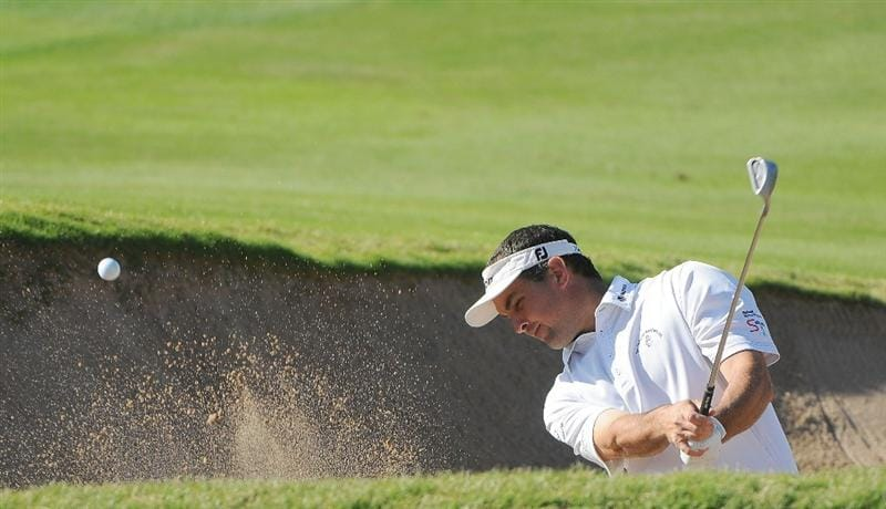 SCOTTSDALE AZ - OCTOBER 24:  Brad Adamonis  his out of the greenside bunker on the 15th hole during the second round of  the Fry's.Com Open held at Grayhawk Golf Club  on Friday, October 24, 2008 in Scottsdale, Arizona. (Photo by Marc Feldman/Getty Images)