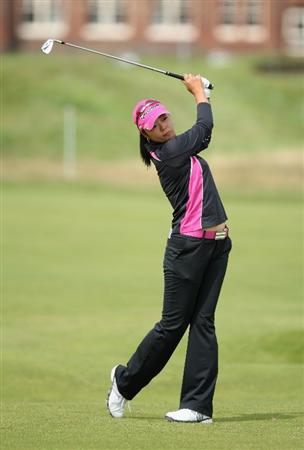 LYTHAM ST ANNES, ENGLAND - AUGUST 01:  Yuko Mitsuka of Japan hits her second shot on the 2nd hole during the third round of the 2009 Ricoh Women's British Open Championship held at Royal Lytham St Annes Golf Club, on August 1, 2009 in Lytham St Annes, England.  (Photo by David Cannon/Getty Images)