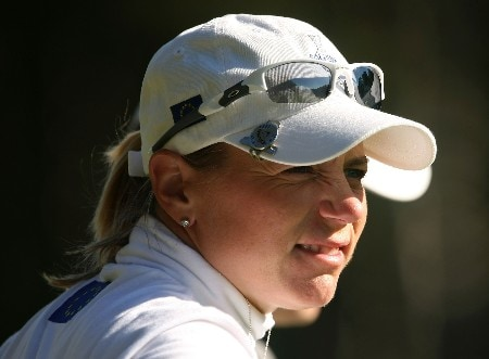 HALMSTAD, SWEDEN - SEPTEMBER 13:  Annika Sorenstam of Europe waits on a green during practice prior to the start of the Solheim Cup at Halmstad Golf Club on September 13, 2007 in Halmstad, Sweden.  (Photo by Scott Halleran/Getty Images)
