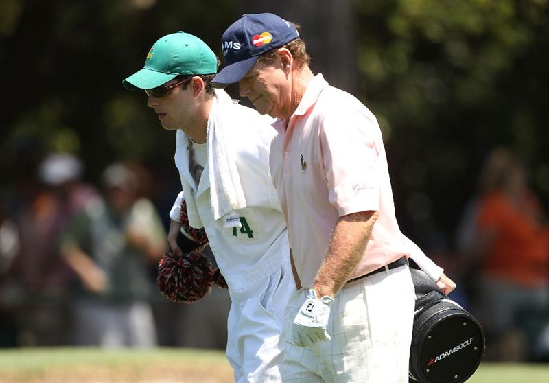 AUGUSTA, GA - APRIL 11:  Tom Watson (R) walks with his his caddie/son Michael Watson on the first hole during the final round of the 2010 Masters Tournament at Augusta National Golf Club on April 11, 2010 in Augusta, Georgia.  (Photo by Andrew Redington/Getty Images)