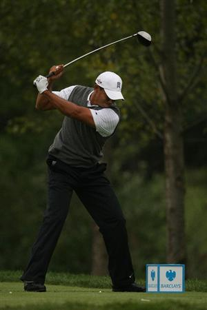 JERSEY CITY, NJ - AUGUST 28:  Tiger Woods reacts to his hooked tee shot on the 16th hole during roudn two of The Barclays on August 28, 2009 at Liberty National in Jersey City, New Jersey.  (Photo by Nick Laham/Getty Images)