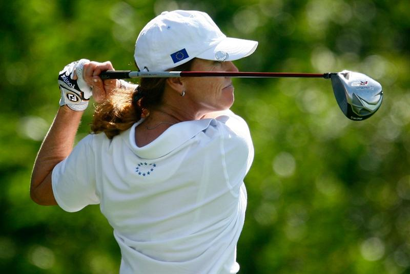 SUGAR GROVE, IL - AUGUST 18:  Helen Alfredsson of the European Team watches a shot during a practice round prior to the start of the 2009 Solheim Cup at Rich Harvest Farms on August 18, 2009 in Sugar Grove, Illinois.  (Photo by Scott Halleran/Getty Images)