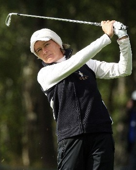HALMSTAD, SWEDEN - SEPTEMBER 15:  Catriona Matthew of Europe watches her approach shot on the second hole during the morning foursome matches of the 2007 Solheim Cup at on September 15, 2007 in Halmstad, Sweden.  (Photo by David Cannon/Getty Images)