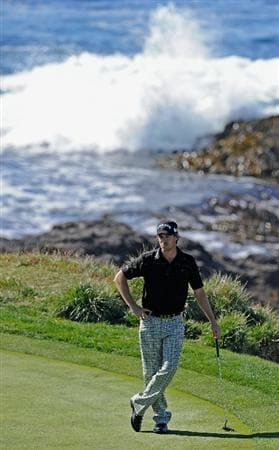PEBBLE BEACH, CA - FEBRUARY 11:  Aaron Baddeley of Australia waits to putt on the seventh hole during the second round of the AT&T Pebble Beach National Pro-Am at the Pebble Beach Golf Links on February 11, 2011  in Pebble Beach, California  (Photo by Stuart Franklin/Getty Images)