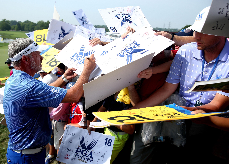 Darren Clarke signing autographs at the 2014 PGA Championship