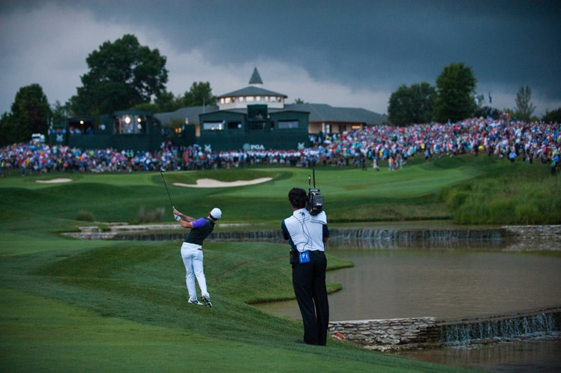 5. Rory McIlroy plays up on 18 at Valhalla