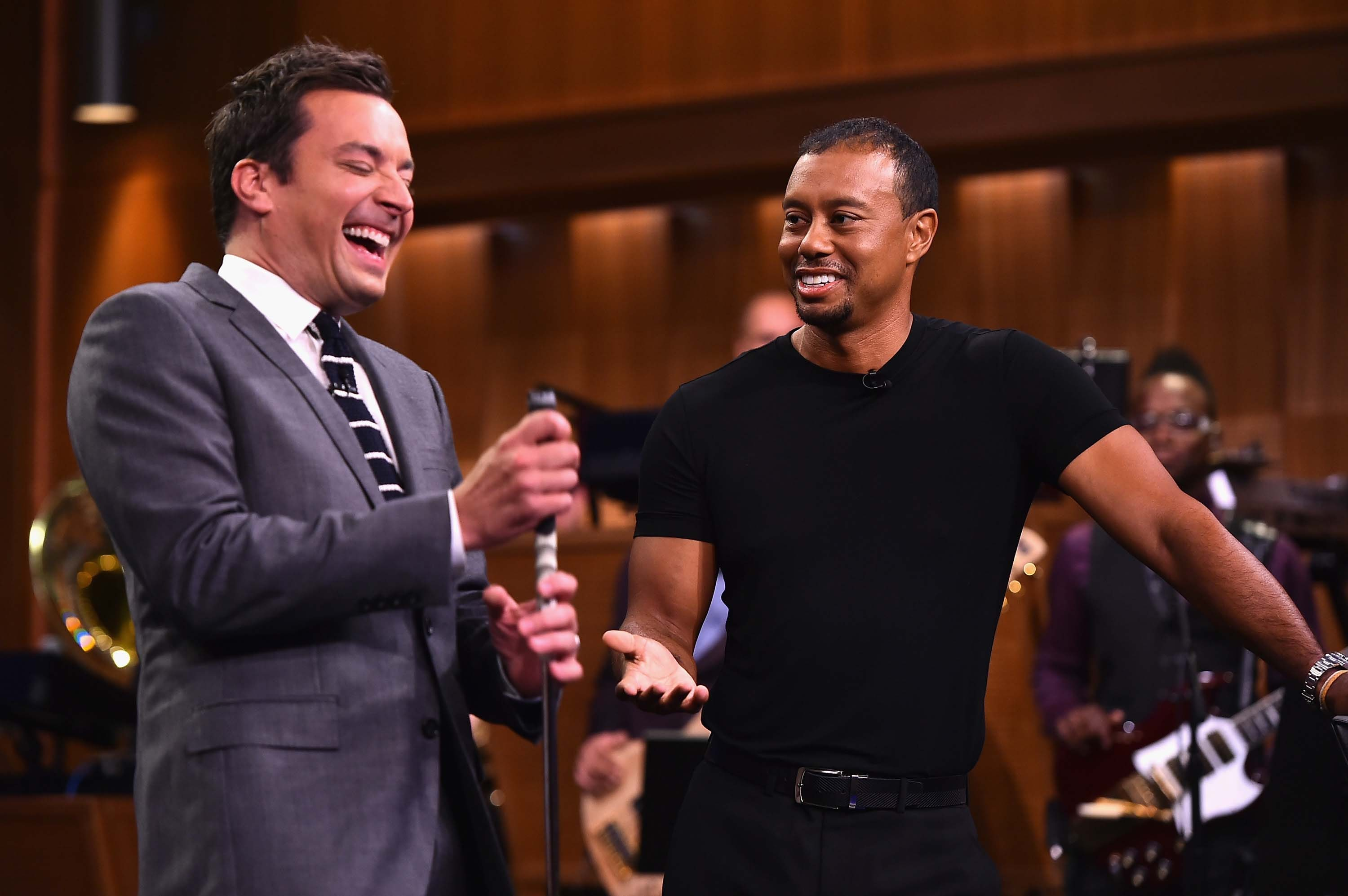 Tiger Woods and Jimmy Fallon