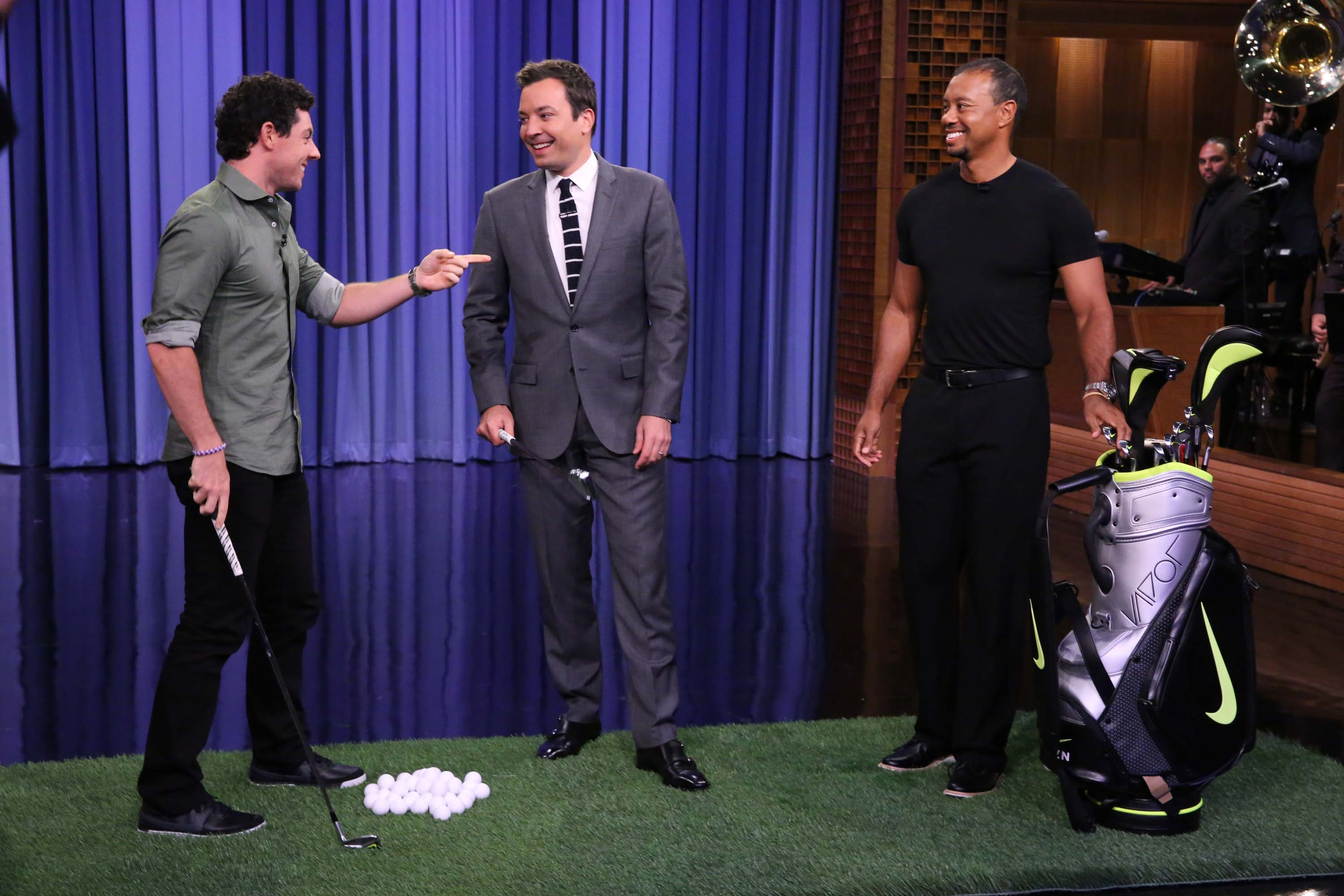 Tiger Woods, Rory Mcllroy and Jimmy Fallon