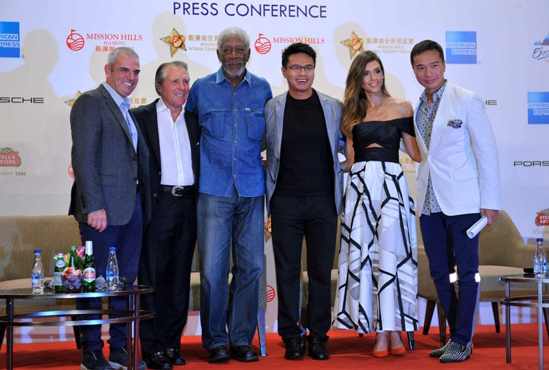 Paul McGinley, Gary Player, Morgan Freeman, Ken Chu, Jessica Alba and Tenniel Chu