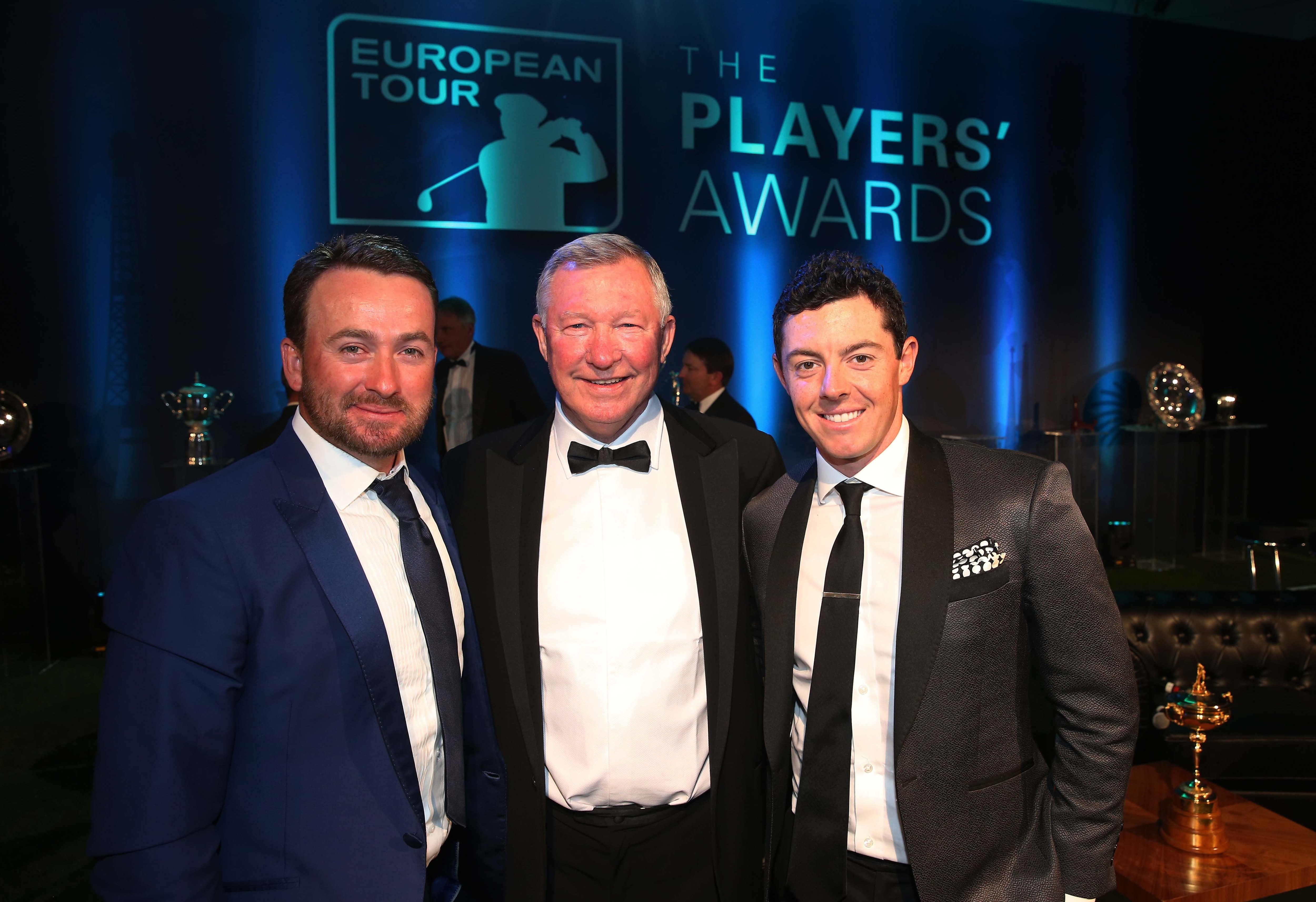 Graeme McDowell, Sir Alex Ferguson and Rory McIlroy