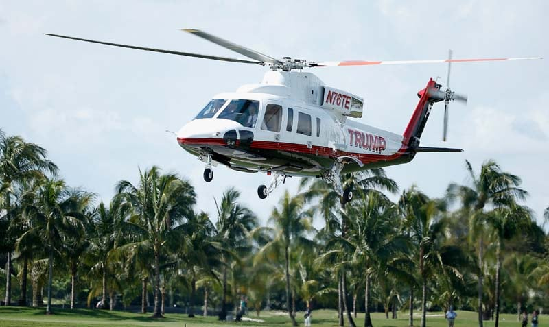 Of course Trump lands on the course