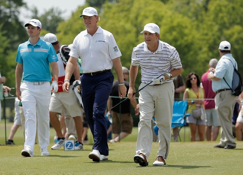 Ernie Els, David Toms and Justin Rose