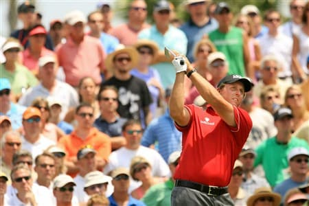 PONTE VEDRA BEACH, FL - MAY 10:  Phil Mickelson plays his tee shot on the third hole during the third round of THE PLAYERS Championship on THE PLAYERS Stadium Course at TPC Sawgrass on May 10, 2008 in Ponte Vedra Beach, Florida.  (Photo by Scott Halleran/Getty Images)