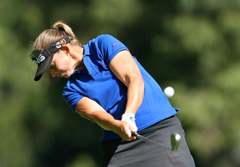GUADALAJARA, MX - NOVEMBER 16: Angela Stanford of the United States hits her second shot on the 5th hole during the final round of the Lorena Ochoa Invitational at Guadalajara Country Club on November 16, 2008 in Guadalajara, Mexico. (Photo by Hunter Martin/Getty Images)