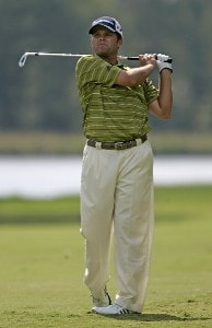 Robert Damron hits his approach shot on the 9th hole during the third round of the Southern Farm Bureau Classic at Annandale Golf Club in Madison, Mississippi, on September 30, 2006. Photo by Hunter Martin/WireImage.com
