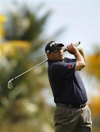 RIO GRANDE, PR - MARCH 11:  Angel Cabrera of Argentina hits a shot during the second round of the Puerto Rico Open presented by seepuertorico.com at Trump International Golf Club on March 11, 2011 in Rio Grande, Puerto Rico.  (Photo by Michael Cohen/Getty Images)
