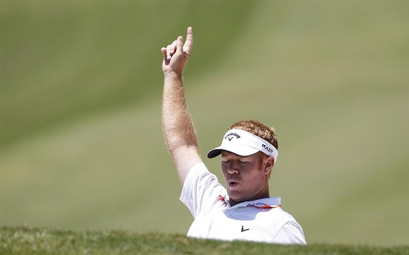 ATHENS, GA - MAY 07: Bubba Dickerson reacts to nearly holing out his third shot on the first hole during the third round of the Stadion Classic at UGA held at the University of Georgia Golf Course on May 7, 2011 in Athens, Georgia.  (Photo by Michael Cohen/Getty Images)